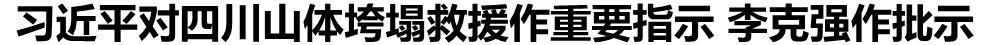 习近平对四川山体垮塌救援作重要指示 李克强作批示