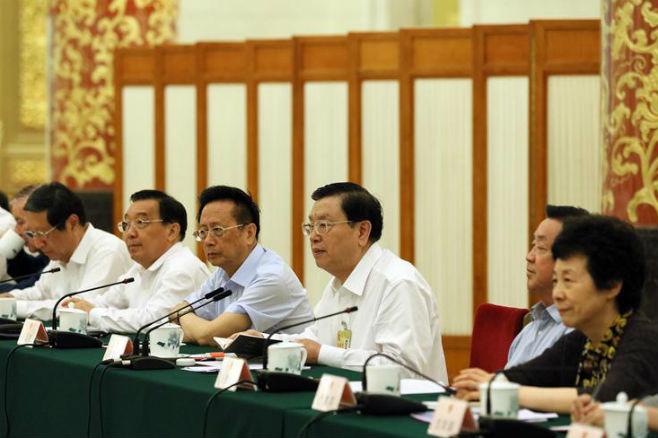 张德江出席十二届全国人大常委会第二十八次会议联组会议