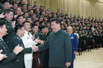 Xi meets delegates to PLA logistic support force Party congress, senior officers in Hubei